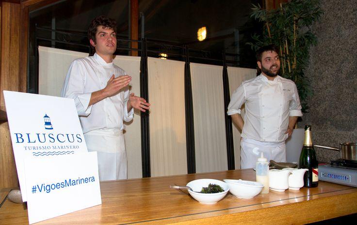 Los chefs Alejandro Torres y Alberte Gutiérrez en el evento Bluscus en Vigo