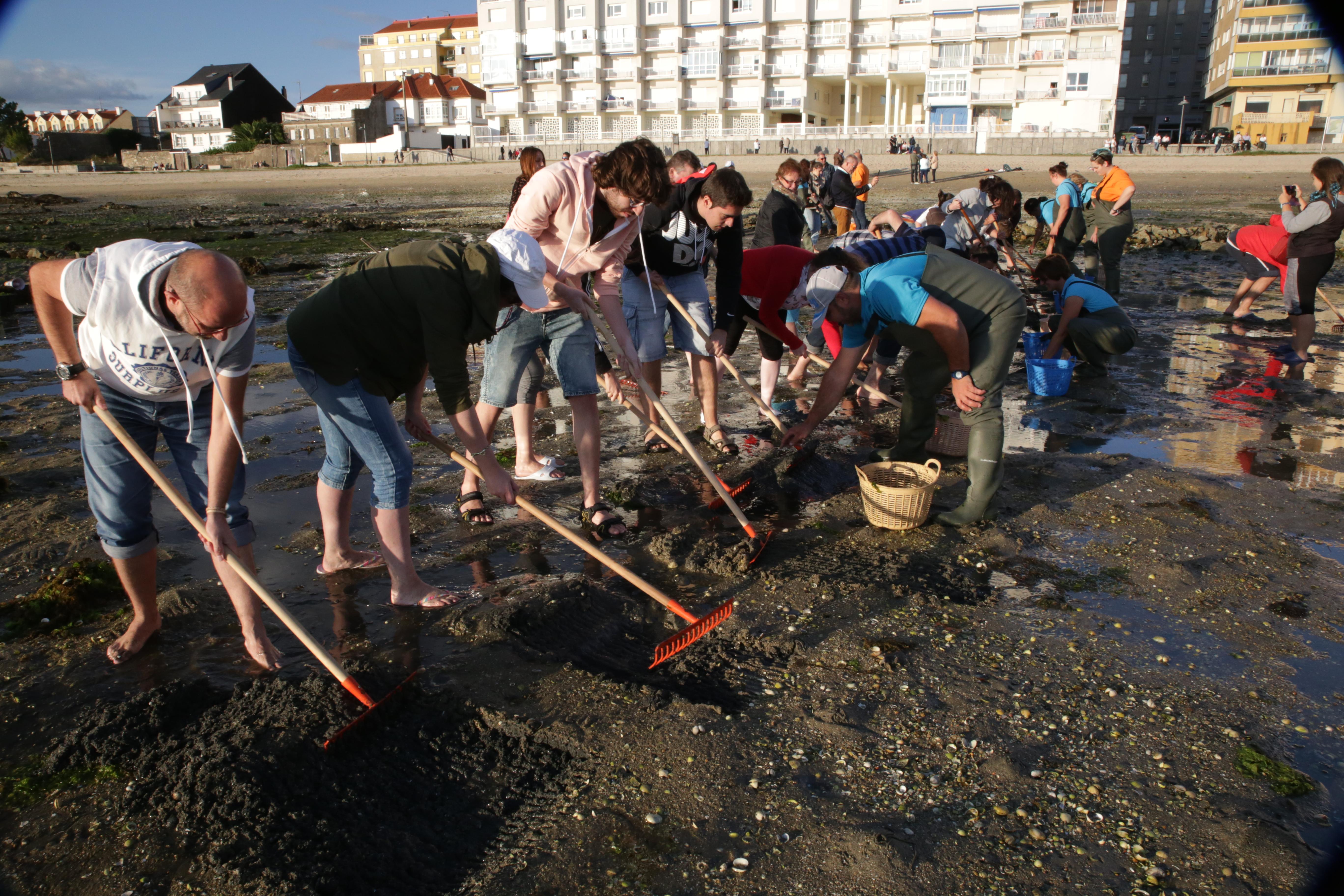 Grupo practicando el marisqueo Amarcarril