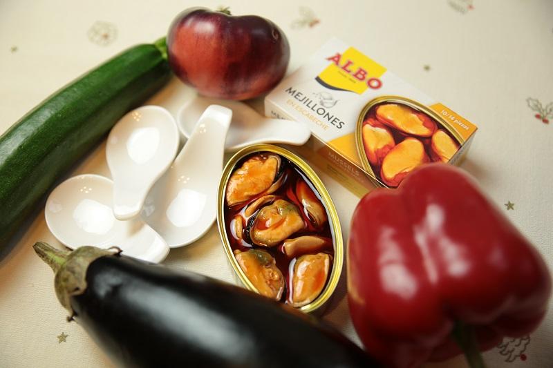 Ingredientes para la receta de mejillones de conservas ALBO